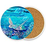 visesunny Ocean Sea Turtle Drink Coaster Moisture Absorbing Stone Coasters with Cork Base for Tabletop Protection Prevent Furniture Damage, 4 Pieces