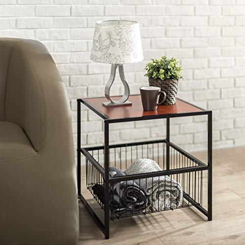 Zinus, Mesa auxiliar Dane de 51cm con estructura negra y cesta de almacenaje, Montaje sencillo, madera veteada en rojo caoba