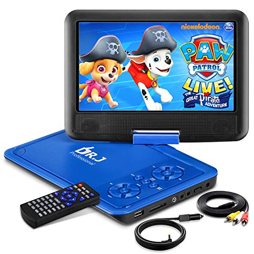 Great Deal! DR. J 11.5 Portable DVD Player with HD 9.5 Swivel Screen, Rechargeable Battery with Wa...