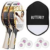 Butterfly Timo Boll Gold - Juego de 2 raquetas de ping pong + funda de celda + 2 pelotas de tenis de mesa ITTF R40+