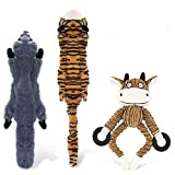 ASANMU Quietschende Spielzeug für Hund, 3 Stück Quietschende Hundespielzeug Hundekuscheltier Plüschspielzeug für Hunde Interaktive Spielzeug - Sicher Kauspielzeug für Kleine & Mittel Hunde/Katzen