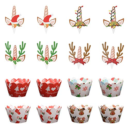 FUNZZY Christmas Unicorn Cake Toppers Creative Antler Cupcake Decor Desserts Wrappers Christmas Party Supplies 48 Pcs