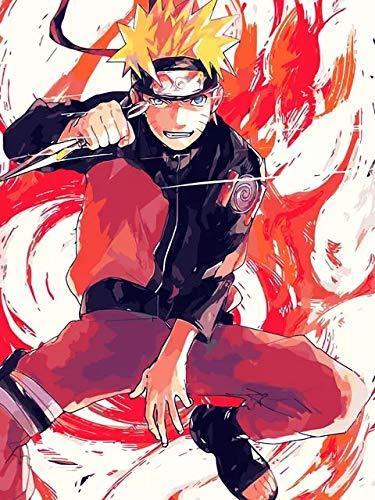 JHGJHK Anime japonés Naruto Sasuke Naruto Kakashi Personaje Pintura al óleo, Anime Fan decoración del hogar Pintura al óleo (9)