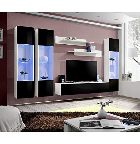 Ensemble TV avec LED - 6 éléments - Noir et blanc