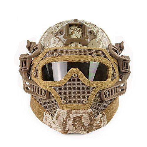 OAREA Tactical Protective PJ Helm G4 System GS Masken mit Brille für Militärische Airsoft Paintball Army WarGame Jagd