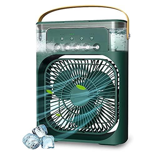 SNOWINSPRING Ventilador de Aire Acondicionado PortáTil, Enfriador de Aire Evaporativo, con Luces LED de 7 Colores, Temporizador de 1/2/3 Horas, 3 Velocidades de Viento