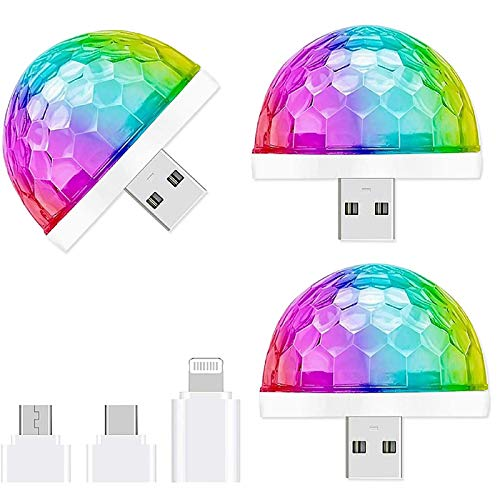 HONGLONG USB Mini Disco Light, 3 Paquetes, Luces de Fiesta Bola de Sonido activadas, Halloween DJ Disco Ball Lights-Multi Colors LED Atmósfera Atmósfera Luz, Magic Strobe Light