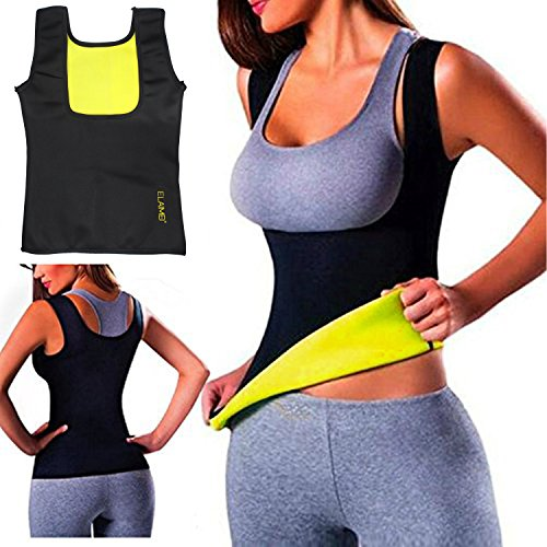 ELAIMEI Frauen Hot Sweat Body Shaper Tank Thermo Yoga Sauna Neopren Weste Fatburner Abnehmen Taille (3XL=EU 44-46)