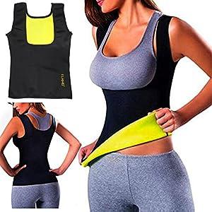 ELAIMEI Mujeres Sudor Caliente Body Shaper Tank Thermo Yoga Sauna Chaleco de Neopreno Quemador de Grasa Que Adelgaza la Cintura Shaper Trainer Cincher (L=36-38, Women)