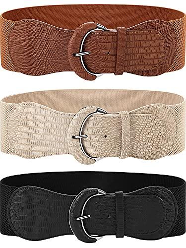 SATINIOR 3 Cinturones Anchos (Negro, marrón, beige, 33,07 Pulgadas)