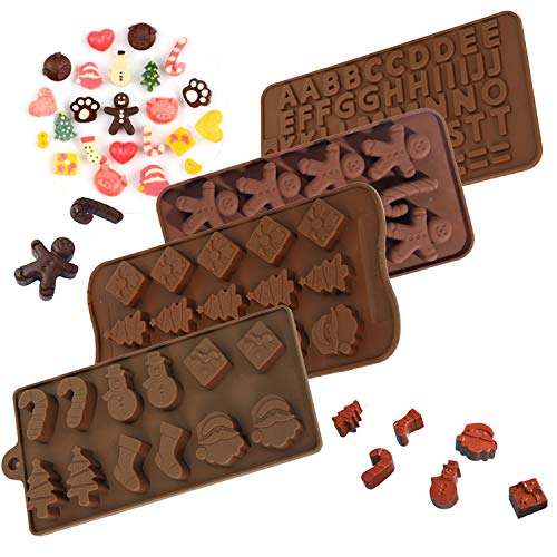 Chocolate Mold Christmas Candy Molds Silicone Molds for Baking Cake Jello with Shapes of Letter Snowman Tree Santa Socks Gift Box 4 Pack