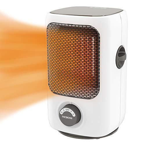 セラミックヒーター TECBOSS 電気ファンヒーター 1000W/750W 自動首振り 省エネ コンパクト 電気ストーブ 過熱保護 転倒オフ 送風角度調節でき 脱衣所 オフィス 寝室PSE認証済み 日本語取扱説明書付