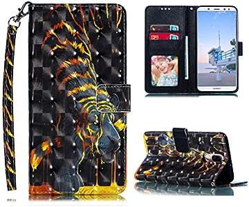 Huawei Mate10 Lite - Funda de Piel con Tapa para Huawei Mate10 Lite, con función Atril, Cierre magnético y Carcasa Interior de Silicona, MUZHY76SEY7640, Tigre, Huawei Mate10 Lite