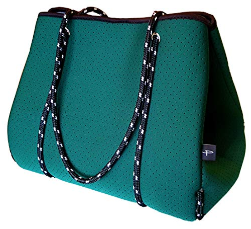 Light Designer Tote Bag for Women, Neoprene Shoulder Carry Hobo Bag, Large & Durable in Forest Green