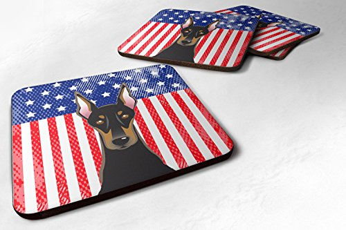 Caroline 's Treasures bb2175fc American Flagge & Rottweiler, Schaumstoff Untersetzer (Set von 4), 8,9cm Multicolor