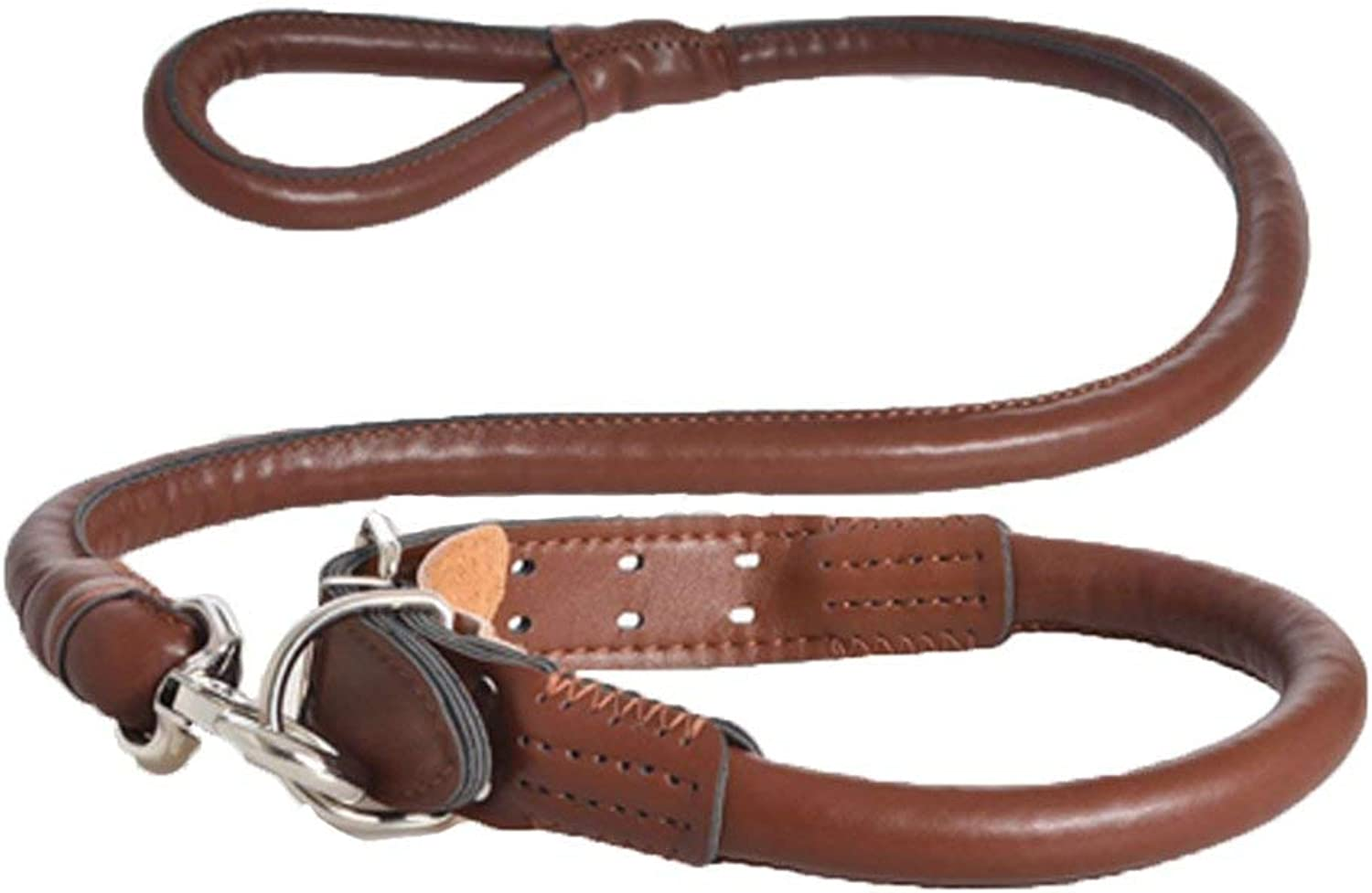 Dog Lead Collar Dog Chain PU Leather Suit for Large Dogs Dog Training Leash (color   Brown)