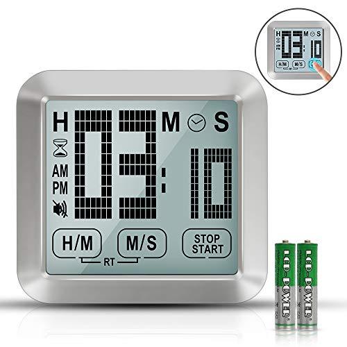 Digitaler Timer Küchenuhr Kurzzeitwecker TouchScreen - 3,46\'\' Großes LCD-Display Eieruhr Digital mit Lanyard, Lauter Alarm, Speicherfunktion Timers für Kochen, Fitness, Treffen(Batterie Enthalten)