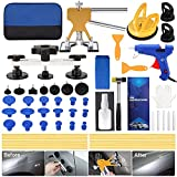 QIUJIN 54pcs Paintless Dent Repair Kit, Car Dent Puller Tool with Adjustable Golden Lifter, Bridge Puller, Suction Cup & Glue Gun for Automobile Body Dent Removal Remover Tools Kit