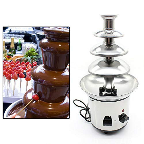 110V 170W 4-Tier Stainless Steel Electric Chocolate Melting Fondue Fountain for for Melted Chocolate,Candy,Butter,Cheese, Caramel,One Size 1000g US