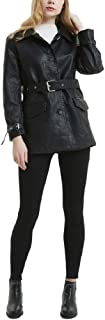 Howely Women Faux-Leather Classic Belted Trench Coat Bomber Biker Moto Jacket