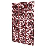 Biombos Panel de 15 Piezas - 118x197cm - Rojo Paneles De Separacion Geometría Exquisita Panel Separadores Ambientes para Armario De Maquillaje Baño Dormitorio Sala De Estar