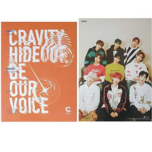 CRAVITY Season 3 Hideout: Be Our Voice Album PreOrder (Version 1) CD+Poster+Photobook+Photocard+Sticker+Unit Polaroid Photo+ID Photocard+Photo Stand+Mini Photo Slogan+(Extra 10 Photocards)