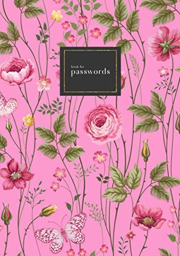 Book for Passwords: B5 Medium Internet Address Notebook with A-Z Alphabetical Index | Rose Butterfly Floral Garden Design | Pink