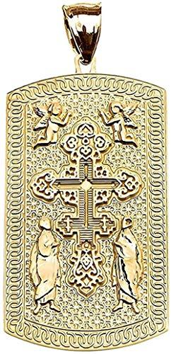 CXYCXY Co.,ltd Collar Moda Grabado Colgante De Etiqueta De Perro De Oro Amarillo De 9 Quilates con Cruz Ortodoxa Rusa