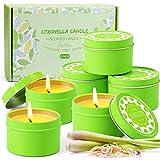 LA BELLEFÉE Citronella Kerzen, Zitronengras Duftkerzen im Dose, Aromatherapie Sojawachs Outdoor Kerzen für Innen und Draussen (6 x 95 g)