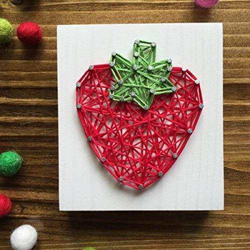 sswyfc Frameless DIY String Schilderij Nagel Winding Fruit Handgemaakte Stereo Garen Schilderij 10 * 10cm