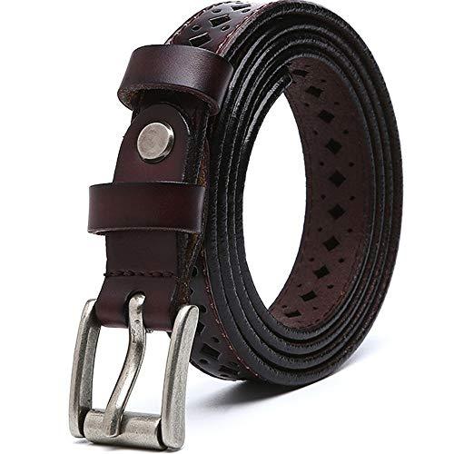 LULUVicky-WB Damen-Taillengürtel Lässige Durchbrochene Gürtelschnalle aus Leder für Damen Einstellbare Kleider Jeans Hosen (Farbe : Braun)