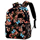 Bolsas escolares para niños, mochila casual duradera con mariposa amarilla y flor para estudiantes, Multicolor 05,
