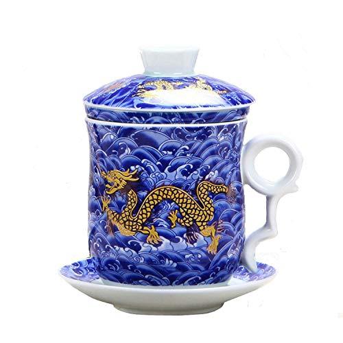 Set von Teetasse mit Teesieb, Deckel und Untertasse, chinesisches Drachenmuster, 4 Farben, aus chinesischem Porzellan, persönliche Teetasse, 400 ml blau