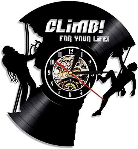 KDBWYC Reloj de Pared de Vinilo de desafío Extremo Reloj de Pared de álbum de Escalada de montaña Reloj de Pared Deportivo Fitness decoración del hogar Reloj de Pared