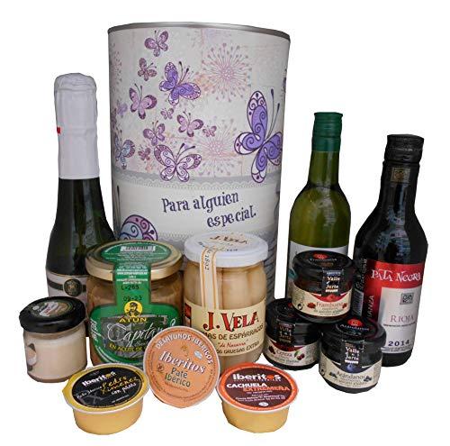 Cesta regalo en lata con productos Gourmet para regalo mujer
