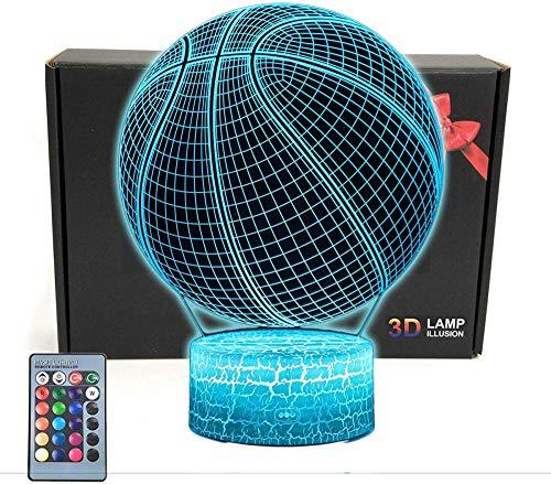 Lámpara de ilusión 3D de 16 colores LED de luz nocturna con control táctil, regalos de Navidad de cumpleaños para niños baloncesto