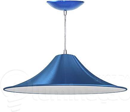 Pendente Chapéu Chinês (Azul Metálico/Branco)