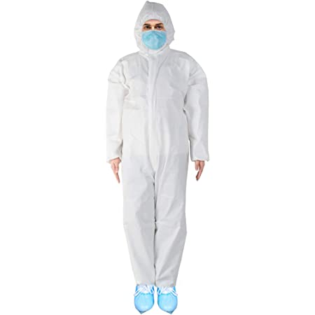 Disposable Coverall with Long Zipper Full Body Protective Suit Elastic Sealing Design for Manufacturing Renovation Painting