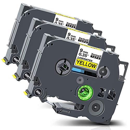Xemax Compatible Cinta 9mm x 8m Reemplazo para Brother P-Touch Tze-621 Tz-621 Negro sobre Amarillo Laminado Casete para PT-H105 PT-H110 PT-H101C PT-D200VP PT-1010 PT-H100P PT-1000 PT-D400VP, 3 Pack
