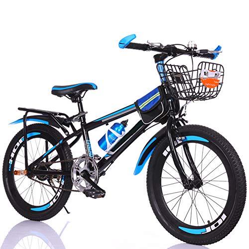 Bicicletas 18-22 Pulgadas De Estudiantes, Niños Variable De Primera Calidad De Acero Al Carbono Bicicletas Montaña,Single Variable Speed Disco Freno Bicicleta,Para Chicos, Chicas,Azul,22 inch