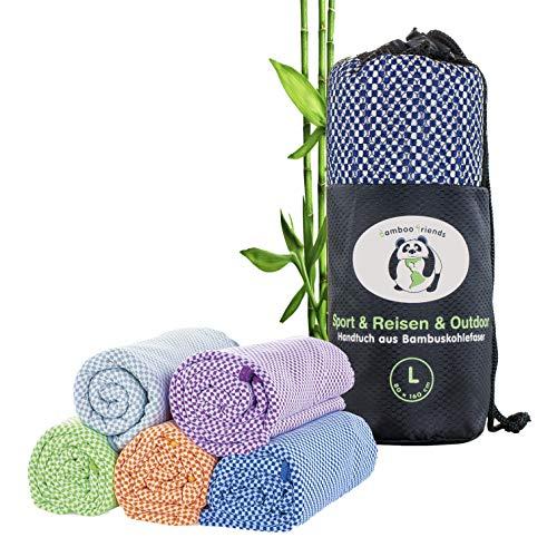 bamboo friends Bambus Reisehandtuch Handtuch – federleicht, super saugfähig, antibakteriell & schnelltrocknend – Bambushandtuch für Reisen Camping – 80x130 cm (blau, M)