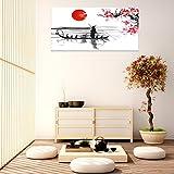 Cuadro PVC Japón | Varias Medidas 150 x 60 cm | Fácil colocación | Decoración Habitación | Motivos paisajisticos | Naturaleza | Urbes | Blaco, Negro y Rojo | Diseño Elegante