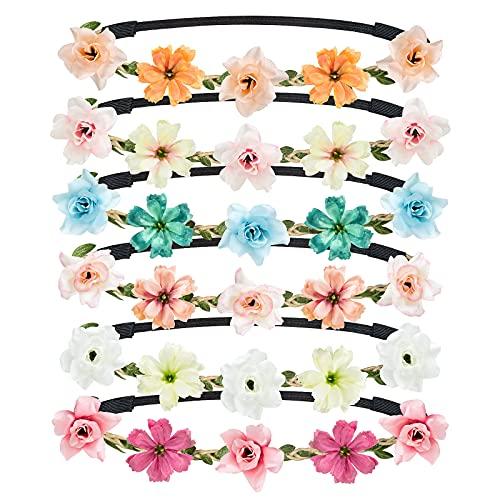 Cinta para el Cabello de Corona de Flores, Taumie 6 Pcs Ajustable Hecha a Mano Diadema Floral, Novia Corona Accesorios para el Cabello, Mujer o Niñas para Boda Fiesta de Cumpleaños Guirnalda Floral