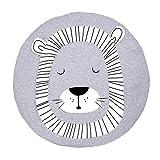 Baumwolle Krabbeldecke groß und weich gepolstert 90 x 90cm für Baby Kinder (Löwe)