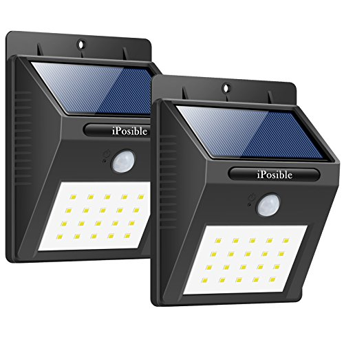 iPosible Foco Solar, [ 2 Paquetes 20 LED Luce Solare Impermeable,1200mAh Lámpara Solare de Pared,Luz de Solar,Luces de Exterior con Sensor de Movimiento Batería Solar Exterior para Jardín,Patio