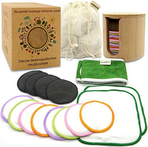 Discos desmaquillantes reutilizables ecologicos. Grandes suaves y lavables. Caja Regalo con Discos de Bambú, Toallitas, Diadema y Bolsa de lavado