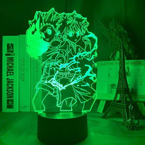 3D-Illusionslampe führte Nachtlicht Gon und Killua Figur Anime Hunter X Hunter für Kinder Schlafzimmer Dekor Kind Geschenk Hxh Bett