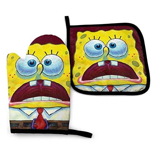ZHSL Spongebob-Ofenhandschuhe und Topflappen-Sets Hängende rutschfeste, hitzebeständige 2-teilige Sets zum Grillen in der Küche Kochen Backen Grillen