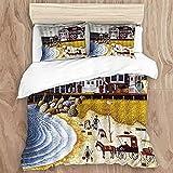 HASENCIV Funda nórdica,Ocean Coastal Pier Cottage Vintage American Seaside Town Pintura al óleo Impresión,Juego de Ropa de Cama,Incluye 1 Funda de Edredón 240x220cm y 2 Fundas de Almohada 50x80cm
