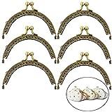 Xinlie Chiusura per Borsa Telaio Quadrata retrò Fiore Portamonete Chiusura Bacio Blocco Arch Frame Coin Purse Bag Kiss Clasp Lock Retro Fibbia in Metallo per la Fabbricazione di Bag 6 Pezzi (Bronzo)